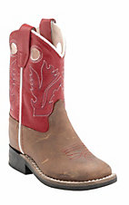 Old West Jama Toddler Distressed Brown w/Red Top Square Toe Western Boots