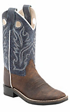 Old West Kids Brown Oiled w/ Distressed Blue Leather Top Square Toe Western Boots