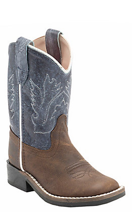 Old West Toddler Oiled Brown and Distressed Blue Square Toe Western Boots