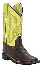 Old West Kids Brown with Neon Yellow Upper Wide Square Toe Western Boots