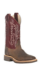 Old West Kids Brown with Deep Red Upper Square Toe Boots