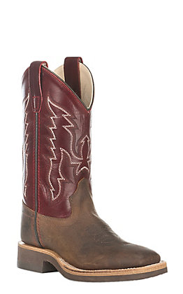 Old West Kids Brown and Wine Corona Calf Square Toe Western Boot