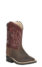 Old West Toddler Brown with Deep Red Upper Square Toe Boots