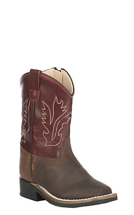 Old West Toddler Brown and Wine Corona Calf Square Toe Western Boot