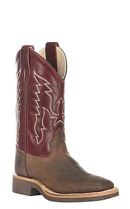 Old West Youth Corona Calf Brown with Deep Red Upper Square Toe Boots