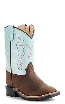 Old West Toddler Brown and Irrid Blue Square Toe Western Boots