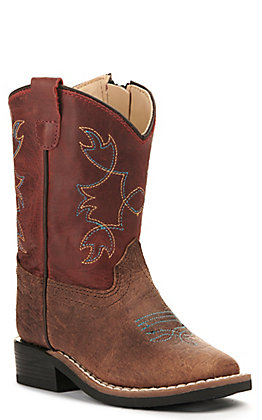 Old West Toddlers' Brown Bull Hide Print and Burnt Red Wide Square Toe Western Boot
