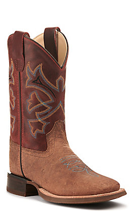 Old West Youth Brown Bull Hide Print and Burnt Red Wide Square Toe Western Boot