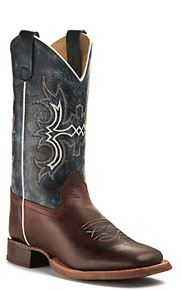 Old West Kids' Dark Brown and Wipe Out Blue Wide Square Toe Western Boot