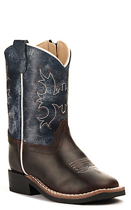 Old West Toddlers' Dark Brown and Wipe Out Blue Wide Square Toe Western Boot
