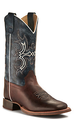 Old West Youth Dark Brown and Wipe Out Blue Wide Square Toe Western Boot