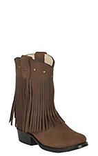 Old West Toddler's Corona Calf Brown Fringe Boots