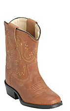 Old West JAMA Toddler Tan Brown Corona Calf Leather Round Toe Western Boots