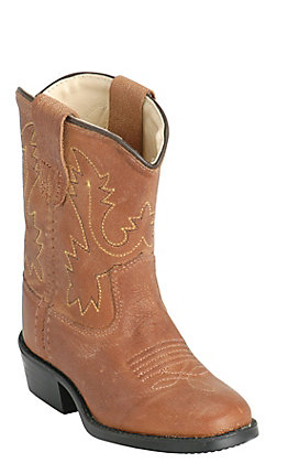 Old West Toddler Tan Brown Corona Calf Leather Round Toe Western Boots