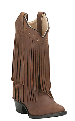 Old West Kids Corona Calf Brown Leather with Fringe Traditional Toe Western Boots