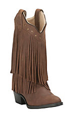 Old West Jama Youth Brown with Fringe Traditional Toe Western Boots