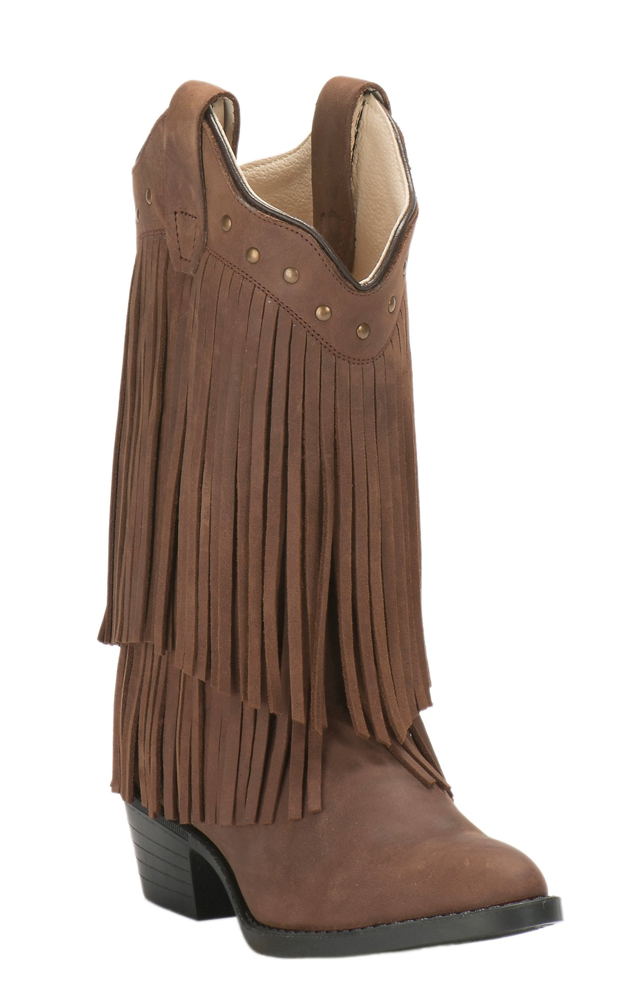 Old West Jama Youth Corona Calf Brown with Fringe Traditional Toe Western  Boots 565d50fbff2