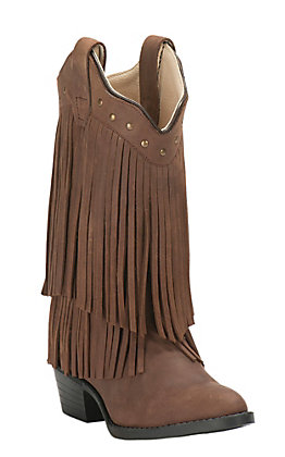 Old West Youth Corona Calf Brown with Fringe Traditional Toe Western Boots