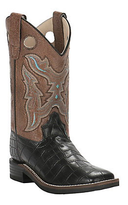 Old West Kids Black Crocodile Print with Brown Upper Leatherette Square Toe Boots