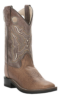 Old West Kids Tan with Brown Leatherette Upper Wide Square Toe Western Boots