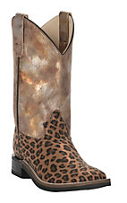 Old West Girls Cheetah Print with Metalic Upper Leatherette Square Toe Western Boot