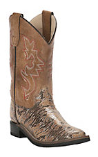 Old West Girl's Iridescent with Brown Upper Leatherette Western Square Toe Boots