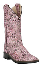 Old West Girl's Pink Sparkle Print Square Toe Western Boots