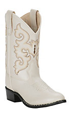 Old West Girl's White Round Toe Western Boots