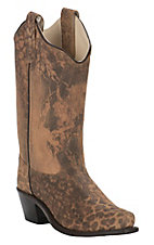 Old West Girls Brushed Leather Cheetah Print Snip Toe Western Boots
