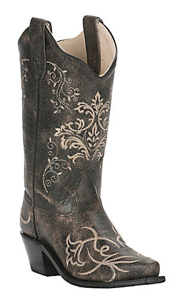 Old West Kids Vintage Charcoal with Fancy Embroidery Snip Toe Western Boots