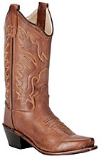 Old West Jama Girls Classic Tan Mad Dog Snip Toe Western Boots