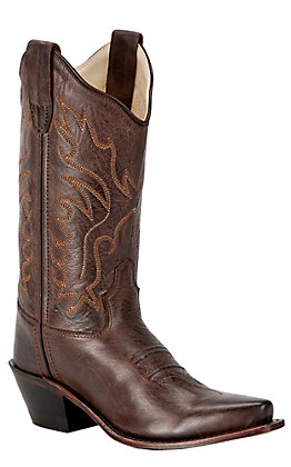 Old West Jama Girls Chocolate Mad Dog Snip Toe Western Boot