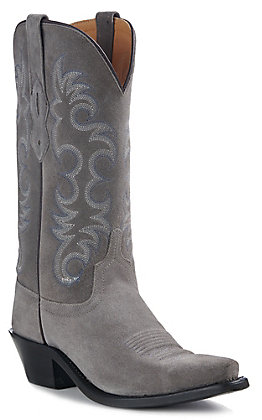Old West Jama Women's Grey Suede Snip Toe Western Boots