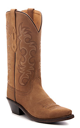Old West Women's Camel Suede Snip Toe Western Boots