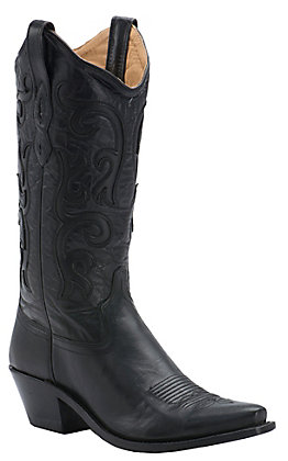 Old West Ladies Classic Black Vineyard Snip Toe Western Boot