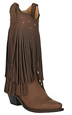 Old West Jama Women's Brown with Fringe Snip Toe Western Boots