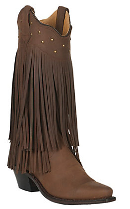 Old West Jama Women's Distressed Brown with Fringe Snip Toe Western Boots