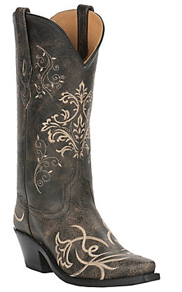 Old West Women's Vintage Charcoal with Fancy Embroidery Snip Toe Western Boots