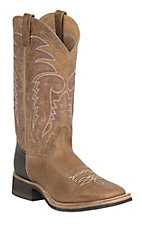 Old West Jama Men's Tan Frye with Tumble Brown Top Square Toe Western Boots