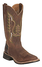 Old West Jama Men's Brown Oily with Brown Truffle Top Square Toe Western Boots