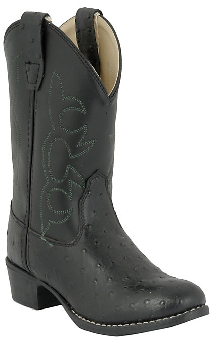 cb491282516 Old West JAMA Childrens Ostrich Print Western Boots - Black