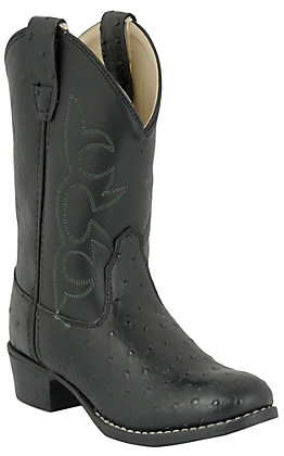 Old West Kids Black Ostrich Print Western Boot