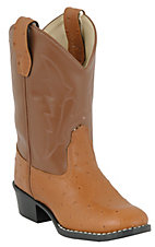 Old West JAMA Childrens Cognac Brown Ostrich Print Western Boots