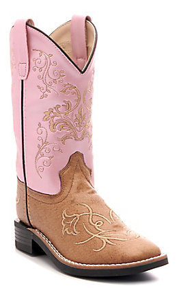 Old West Kids Tan and Pink Square Toe Western Boots