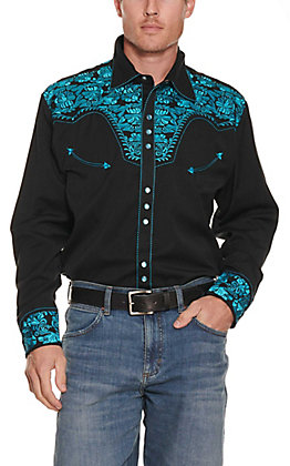Scully Men's Black with Turquoise Floral Tooled Embroidery Long Sleeve Retro Western Shirt