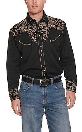 Scully Men's Black With Khaki Embroidered Scroll Long Sleeve Western Shirt