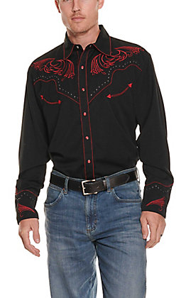 Scully Men's Black With Red Embroidered Scroll Long Sleeve Western Shirt