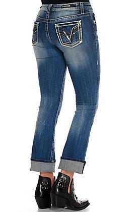 "Vigoss Women's Medium Wash with Sequins 32"" Inseam Slim Boot Cut Jeans"