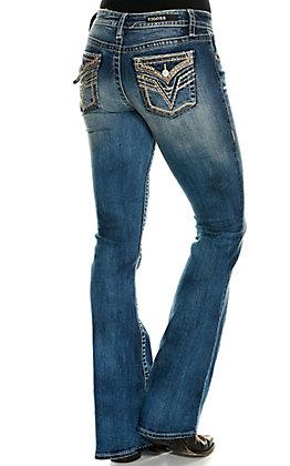 Vigoss Women's Kendra Medium Wash Classic Fit Legacy Stretch Boot Cut Jeans