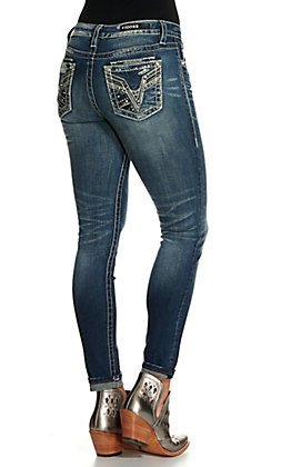 Vigoss Women's Georgia Medium Wash Classic Fit Legacy Stretch Skinny Leg Jeans